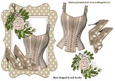 BEIGE BASQUE WITH SPARKLE SHOES AND ROSES on Craftsuprint - Add To Basket!