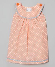 Loving this Orange Polka Dot Yoke Jumper - Infant, Toddler & Girls on #zulily! #zulilyfinds