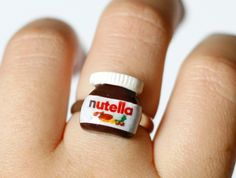 Nutella ring Polymer clay miniature food kawaii sweet by Zoozim, $13.50