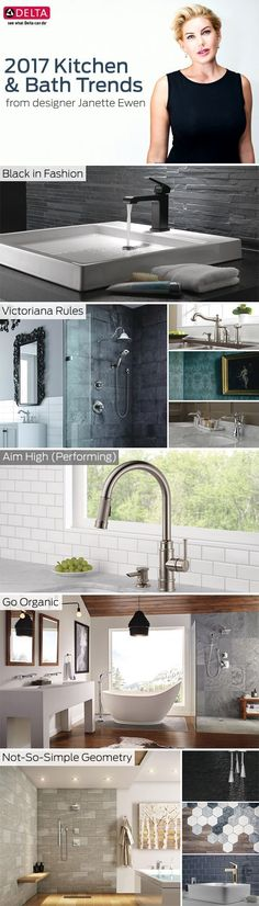 Scoping out the season's hottest & trends? Janette Ewen's got you covered! From handsome black fixtures to fun with geometry, here are some of Janette's personal favourites. Bath Trends, Bathroom Trends, Bathroom Interior Design, Interior Decorating, Kitchen And Bath Design, Minimalist Home, New Homes, Geometry, House Design