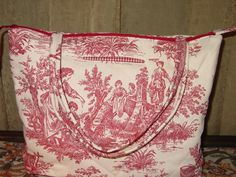 Toile quilted large red and cream bag by BittersweetBags on Etsy, $30.00