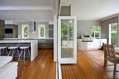 Home Renovation Outdoor Architects Hawthorne, Brisbane, QLD 4171 - Queenslander Renovation Architects Indoor Outdoor Kitchen, Outdoor Kitchen Design, Outdoor Rooms, Backyard Kitchen, Outdoor Areas, Outdoor Dining, Kitchen Dining, Kitchen Cabinets, Parrilla Exterior