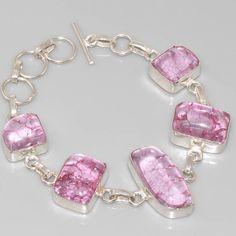 Bespoke pink quartz  sterling  silver bracelet