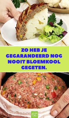 Zo heb je gegarandeerd nog nooit bloemkool gegeten. Zodra je hem aansnijdt, zal het water je in de mond lopen. #bloemkool #recept Low Carb Recipes, Healthy Recipes, Food Porn, Lard, Fish And Meat, Bacon, Recipes From Heaven, Healthy Snacks, Good Food