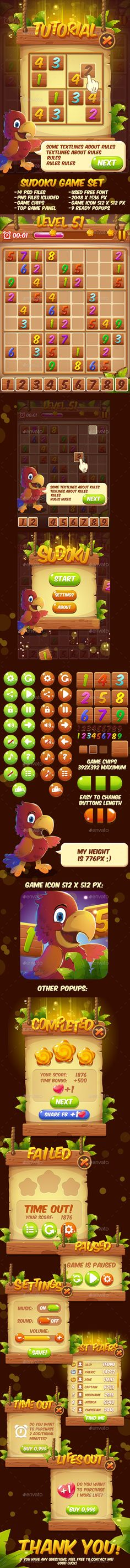 Cartoon Sudoku Puzzle Full Game Set with GUI - Game Kits Game Assets