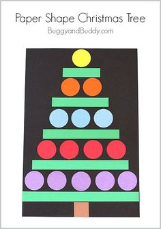 Great Christmas craft for preschoolers, Kindergarteners, and first graders! (Christmas Crafts for Kids: Paper Shape Christmas Tree Craft~ BuggyandBuddy.com)