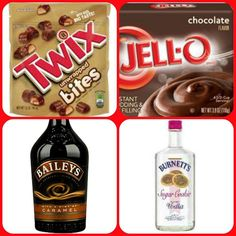 chocolate instant pudding ¾ Cup Milk Cup Baileys Caramel Irish Cream Cup Burnettes Sugar cookie vodka Twix bites tub Cool Whip Directions Whisk together (Chocolate Pudding Shots) Pudding Shot Recipes, Jello Pudding Shots, Jello Shot Recipes, Alcohol Recipes, Pudding Cup, Drinks Alcohol, Jello Shots, Party Drinks, Cocktail Drinks
