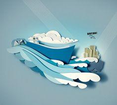 referência colagem - mar, água, cenário