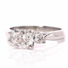 Estate 1.48cts Three Diamond Platinum Engagement Ring Item #: 511304-345415