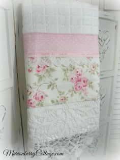 Luxury display towel soft white with pink roses and vintage crochet