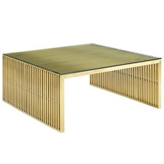 Modway Gridiron Stainless Steel Coffee Table in Gold Stainless Steel Coffee Table, Brushed Stainless Steel, Contemporary Coffee Table, Modern Coffee Tables, Furniture Deals, Modern Furniture, Gold Furniture, Apartment Furniture, Furniture Design