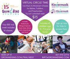 Unlimited trial week includes 14 classes: 7 Virtual Kindermusik classes, 2 Bilingual Birdies Orlando classes, 2 Special themed virtual circle time classes, 1 virtual dance party, 1 virtual sing a long, and 1 virtual evening lullabies. Secure your trial week here: growandsing.com/trialweek #VirtualCircleTime #onlinecircletime #kindermusik #spanishclasses #activitiesforbabies #activitesfortoddlers #activitiesforpreschoolers Infant Activities, Preschool Activities, Virtual Class, Win Online, The Wiggles, Music And Movement, Family Is Everything, Circle Time, Piano Lessons