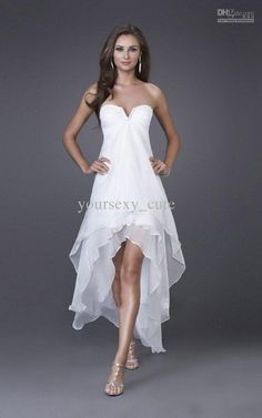 Wholesale Simple Low Price In Stock Chiffon A-line High-low Bridesmaid Dresses Ruche Beads Sequins Zipper, Free shipping, $61.6-69.99/Piece   DHgate