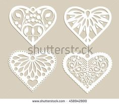 coeurs papier découpée _ Set stencil lacy hearts with carved openwork pattern. Template for interior design, layouts wedding cards, invitations, etc. Image suitable for laser cutting, plotter cutting or printing. Vector Silhouette Curio, Silhouette Clip Art, Wedding Card Design, Wedding Cards, Paper Cutting, Valentine Heart, Valentines, Hand Crafts For Kids, Cool Paper Crafts