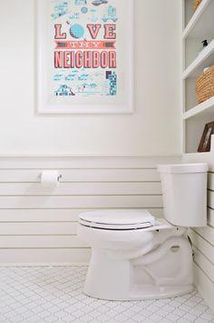 Fun bathroom wainscotting in the showhouse guest bath