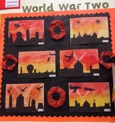 World War Two Blitz Art work. The children used oil pastels to create the background and used black card to create the London skyline and planes. Tissue paper Poppy's added to decorate the display. Lettering from Twinkl Remembrance Day Activities, Remembrance Day Art, Art Activities For Kids, Art For Kids, World War 2 Display, Classroom Displays Ks2, Activity World, Ww1 Art, Fall Art Projects