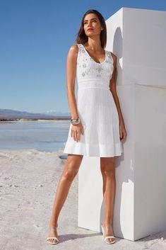 Beaded V-Neck Sweater Dress White Sweater Dress, White Sweaters, White Dress, Embellished Dress, Little White, Black White Stripes, Dress Outfits, Dresses, Flare Dress