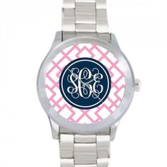 Monogrammed Watch  Reverse Squares by ThePreppyLadybug on Etsy, $58.00
