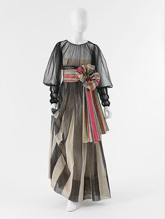"""Sheer silk, cotton, and rayon evening gown by """"Coco"""" Chanel, French, 1939."""
