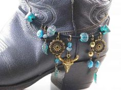 Old West Boot Bracelet..Antique Brass Skull & Conchos..Turquoise Beaded Boot…