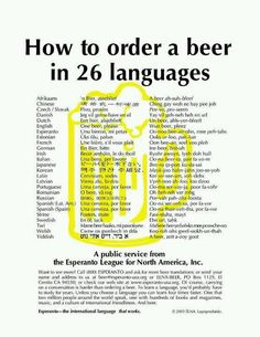 How to order a beer in 26 languages. Make that 27 27 - Finnish     olut, kalja      oh-lut, kal-ya