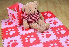 Children Soft Puzzle Mats Rugs Inter-Locking Floor Mats for Kids Soft Foam Play Mat Jigsaw Pop-Out Mats - Pink & Red (12)