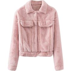 Pink Womens Lapel Faux Fur Trendy Long Sleeves Jacket ($58) ❤ liked on Polyvore featuring outerwear, jackets, tops, coats, pink, faux fur jacket, lapel jacket, long sleeve jacket, pink faux fur jacket and pink jacket