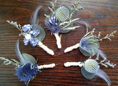 Rustic Wedding Boutonnieres -Set of 5 Grooms Groomsmen Blue Feather Natural Country Woodland Thistle Dried Flower Lavender Periwinkle. via Etsy.