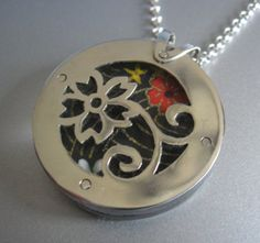Reversible japanese motif sterling silver origami paper necklace
