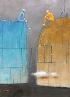 Bird Cages, Wings, Cartoon, Angels, Painting, Illustrations, Paintings, Artists, Kunst