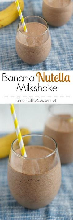 Sweet, nutty and incredibly refreshing, this Banana Nutella Milkshake is the perfect drink for kids and grownups alike. | SmartLittleCookie