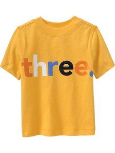 """NEW** 3rd Birthday 3 Years """"three"""" Baby Boys Graphic Shirt 3T Gift Nice! Yellow #OldNavy #BirthdayEverydayHoliday"""