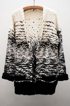 Contemporary Knitwear - black & white cardigan with textured knit detail // IRO