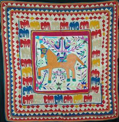 Unusual vintage Gujarati chakla ,wall hanging made by kambi farming caste ,Surasthra. Dowry piece. good condition 86cm x 82cm http://worldbasket.co.uk/product-category/antique-and-vintage-textiles