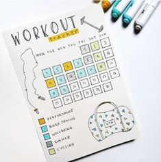 workout bullet journal page - workout bullet journal & workout bullet journal layout & workout bullet journal fitness planner & workout bullet journal ideas & workout bullet journal doodles & workout bullet journal tracker & workout bullet journal page Bullet Journal Tracker, Bullet Journal Workout, Bullet Journal Spreads, Self Care Bullet Journal, Bullet Journal Aesthetic, Bullet Journal Notebook, Fitness Journal, Fitness Planner, Bullet Journals