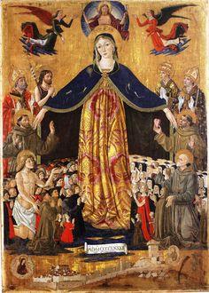 Bartolomeo Caporali - Gonfalone con Madonna della Misericordia e Santi - 1482 - Museo di San Francesco, Montone (Umbria)