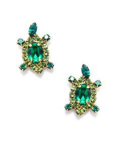 Crystal Turtle Stud Earrings by Elizabeth Cole on Gilt