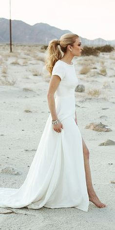 modest wedding dresses sheath with cаp sleeves simple sarah seven