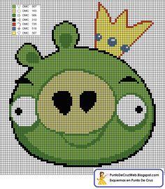 Punto De Cruz: Angry Birds Verde