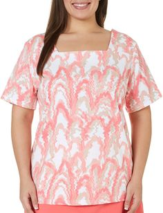 Coral Bay Plus Wave Printed Top 3X Calypso coral pink at Amazon Women's Clothing store: