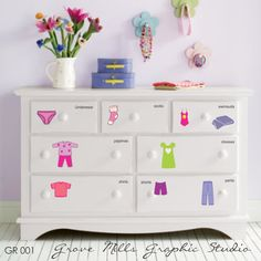 How cute is this for little kids? Dresser Clothing Decal - Labels. $ 22.00, via Etsy. sourced for you by @DownshiftingPOS