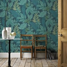 Graham & Brown Tropical Storm Green & Blue Foliage Wallpaper | Departments | DIY at B&Q