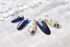 http://sweet-olive.velvet.jp/category/ 花柄,春,2014年,スプリングネイル,ネイビー,大人可愛い