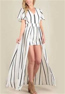 f07f6fff6729 Skies Are Blue Clothing Stripe Maxi Romper Dress for Women in White and  Black 72160