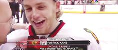 """After winning the Stanley Cup, Pierre told Patrick Kane to be on his best behavior at the parade. His response, """"Not a chance"""""""