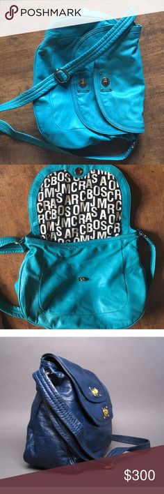 Marc Jacobs large double flap hobo bag Awesome authentic purse, just not my style anymore! Bought in London for full price. In excellent condition. It is the turquoise color pictured in the first two photos. Marc by Marc Jacobs Bags Hobos