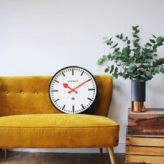 This looks like the perfect spot to cosy up @indigo_hart | Our Putney clock looks very at home. #newgateclocks