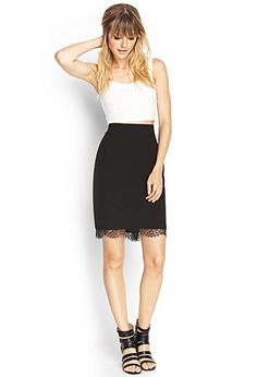 Lace-Trimmed Pencil Skirt | FOREVER21. Cute with my pinstiped crop top!