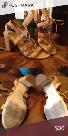 Antonio Melani lace  up sandals😍😍 Beautiful neutral color cute weaved detail but only worn a handful of times ANTONIO MELANI Shoes Sandals