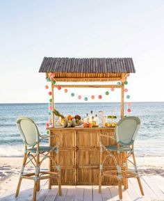 Does your Backyard Beach Getaway include a bar? Look at these fun Tiki bars and beach bars -they provide the perfect spot to sip on your su. Tiki Party, Luau Party, Tikki Bar, Bbq Shed, Backyard Beach, Outside Bars, Bar Seating, Beach House Decor, Home Decor